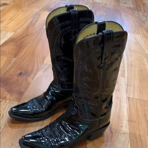 Lychees Classic Black Patent Leather Boots